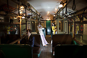 1970s underground carriage at the London Transport Museum in London, England, United Kingdom. The London Transport Museum, or LT Museum based in Covent Garden, seeks to conserve and explain the transport heritage of Britains capital city. The majority of the museums exhibits originated in the collection of London Transport, but, since the creation of Transport for London, TfL, in 2000, the remit of the museum has expanded to cover all aspects of transportation in the city.