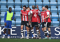 Football - 2020 / 2021 Emirates FA Cup - Round 2 - Gillingham vs Exeter City - Priestfield Stadium<br /> <br /> Exeter City's Joel Randall (obscured) celebrates scoring his side's third goal.<br /> <br /> COLORSPORT/ASHLEY WESTERN