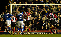 Fotball<br /> England 2004/2005<br /> Foto: SBI/Digitalsport<br /> NORWAY ONLY<br /> <br /> Birmingham City v Southampton<br /> Barclays Premiership. 02/02/2005.<br /> Birmingham's Walter Pandiani (partly obscured, fourth from L) gives his team a 1-0 lead on his debut.