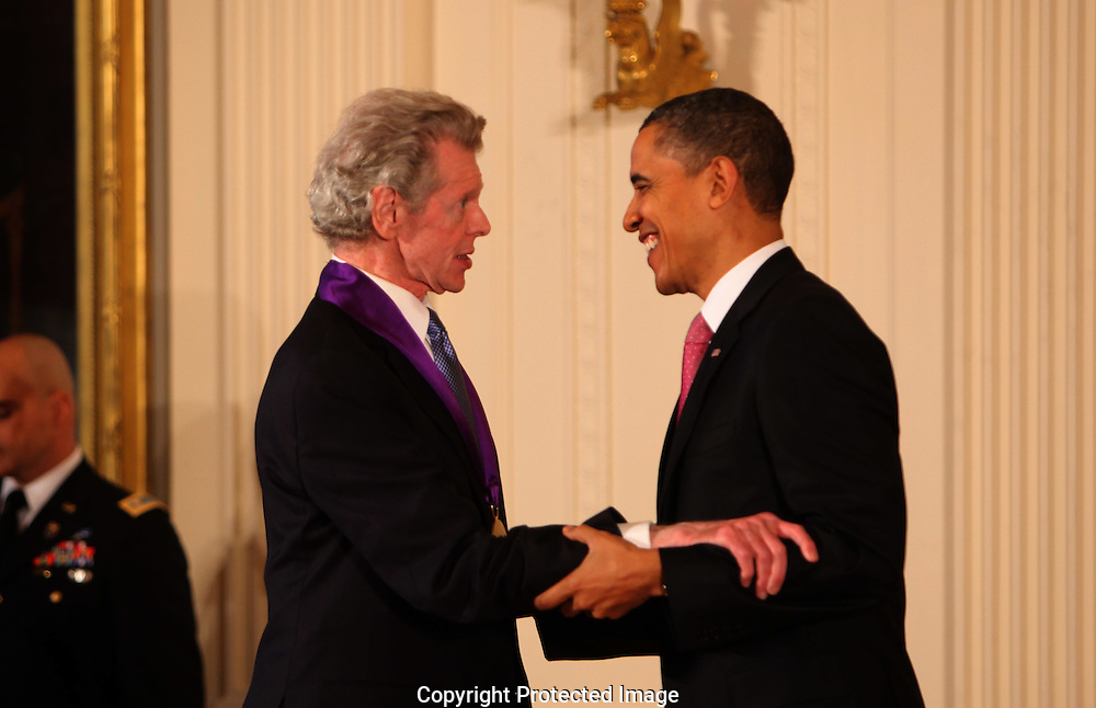 President Barack Obama presents the  2010 National Medal of Arts award to   Van Cliburn  in the East Room of the White House on March 2, 2011.  Photograph by Dennis Brack