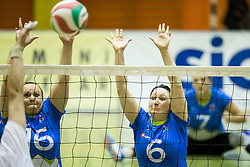 Jasmina Zbil of Slovenia and Suzana Ocepek of Slovenia during friendly Sitting Volleyball match between National teams of Slovenia and China, on October 22, 2017 in Sempeter pri Zalcu, Slovenia. (Photo by Vid Ponikvar / Sportida)