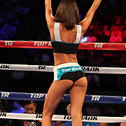 NEW ORLEANS, LA - JULY 14:  A Top Rank ring girl is seen during the Regis Prograis v Juan Jose Velasco ESPN boxing match at the UNO Lakefront Arena on July 14, 2018 in New Orleans, Louisiana.  (Photo by Alex Menendez/Getty Images) *** Local Caption *** Teofimo Lopez; Willian Silva