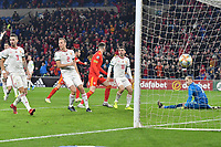 Football - 2019 / 2020 UEFA European Championships Qualifier - Group E: Wales vs. Hungary<br /> <br /> Peter Gulacsi of Hungary \is beaten for Wales 2nd goal , at Cardiff City Stadium.<br /> <br /> COLORSPORT/WINSTON BYNORTH