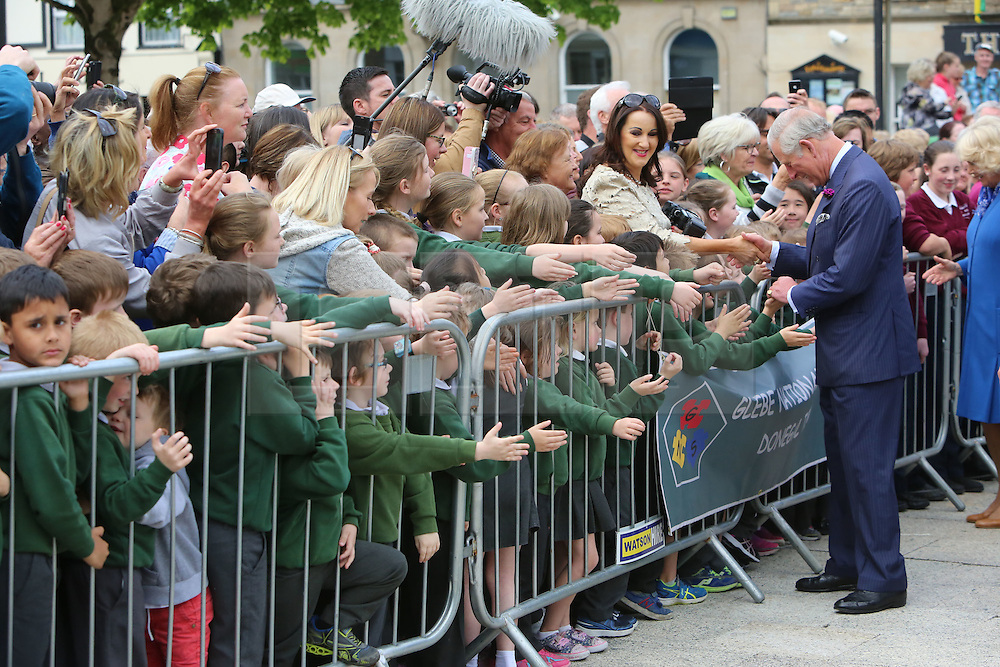 © Licensed to London News Pictures. 25/05/2016. Donegal, Ireland, Britain's Prince Charles does a walk-about in Donegal town in the Irish Republic, Wednesday, May 25th, 2016. Prince Charles is on the final day of a 3 trip to Northern Ireland and the Irish Republic.  Photo credit: Paul McErlane/LNP