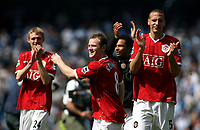 Photo: Paul Thomas.<br /> Manchester City v Manchester United. The Barclays Premiership. 05/05/2007.<br /> <br /> Wayne Rooney (C) along with team-mates (L-R) Darren Fletcher, Keiran Richardson and Rio Ferdinand celebrate at the final whistle.