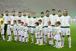 Team of Slovenia during friendly football match between National teams of USA and Slovenia, on November 15, 2011 in SRC Stozice, Ljubljana, Slovenia.  (Photo By Vid Ponikvar / Sportida.com)