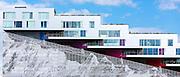 Ultra-modern new apartments with mountain range below on Orestads Boulevard, Copenhagen, Denmark