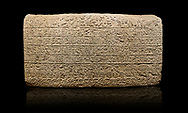 Hittite sculpted Orthostats panel from the  Long Wall.  Limestone, Kargarmis, Gaziantep, 900 - 700 BC,  Hieroglyph. Anatolian Civilisations Museum, Ankara, Turkey.<br /> <br /> In the epigraph with hieroglyph, he narrates that the gods were provoked against him, the account of the cities conquered and the spoils of war; that he allocated a share for the gods, and that he instigated the mighty king Tarhunza and the other gods. In the other lines, he demands that people should present offerings to statues but should evil-intentioned people be among them, such person individuals be punished by the gods.  <br /> <br /> On a black background. .<br />  <br /> If you prefer to buy from our ALAMY STOCK LIBRARY page at https://www.alamy.com/portfolio/paul-williams-funkystock/hittite-art-antiquities.html  - Type  Karkamıs in LOWER SEARCH WITHIN GALLERY box. Refine search by adding background colour, place, museum etc.<br /> <br /> Visit our HITTITE PHOTO COLLECTIONS for more photos to download or buy as wall art prints https://funkystock.photoshelter.com/gallery-collection/The-Hittites-Art-Artefacts-Antiquities-Historic-Sites-Pictures-Images-of/C0000NUBSMhSc3Oo