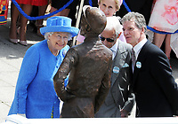 Flat Horse Racing - 2019 Investec Derby Festival - Saturday, Day Two (Derby Day)<br /> <br /> HRH The Queen arrives at the course to unveil  the Bronze Statue of Lester Piggott (also present - centre) and the Sculptor, Willie Newton (right) at Epsom Racecourse.<br /> <br /> COLORSPORT/ANDREW COWIE
