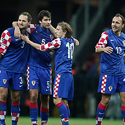 Croatia's Vedran CORLUKA (2ndL) celebrate his goal with team mate during their UEFA EURO 2012 Play-off for Final Tournament First leg soccer match Turkey betwen Croatia at TT Arena in Istanbul Nüovember11, 2011. Photo by TURKPIX