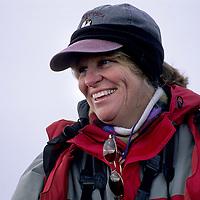 ARCTIC OCEAN. Naturalist Carol Walton at Franz Josef Land, Russia during North Pole cruise (Arctic Ocean).