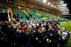 Richard Capstick, Kai Owen, Joe Heyes and Aaron Hinkley of England U20 with fans - Mandatory by-line: Robbie Stephenson/JMP - 15/03/2019 - RUGBY - Franklin's Gardens - Northampton, England - England U20 v Scotland U20 - Six Nations U20