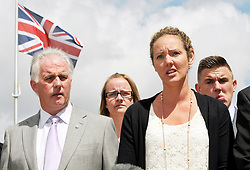 © Licensed to London News Pictures. 25/07/2013. Bulford, Wiltshire, UK.  Sergeant Danny Nightingale case at Bulford Military Court.  He got a suspended sentence.  Pictured his wife Sally as she addresses the media after the sentencing at the Military Court Centre in Bulford Camp.  Sergeant Nightingale is a former SAS sniper who has been convicted on a retrial for illegal possession of a Glock handgun and ammunition, which was found in his possessions in the UK.  His previous case was quashed on appeal.  25 July 2013.<br /> Photo credit : Simon Chapman/LNP