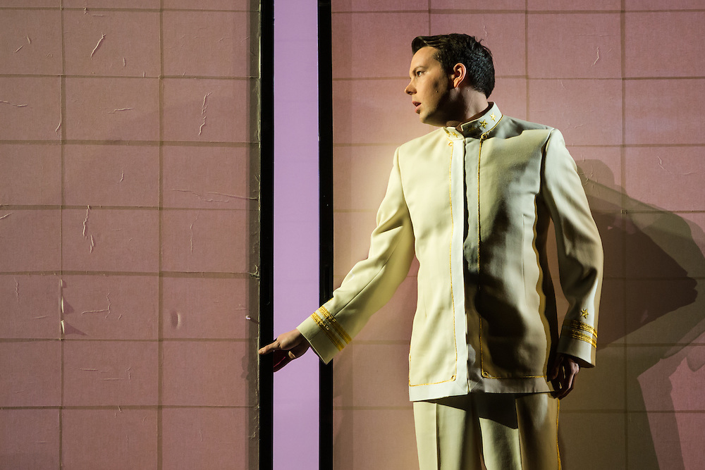 """LONDON, UK, 14 May, 2016. David Butt Philip (as Pinkerton) rehearses for the revival of director Anthony Minghella's production of Puccini's opera """"Madam Butterfly"""" at the London Coliseum for the English National Opera. The production opens on 16 May. Photo credit: Scott Rylander."""