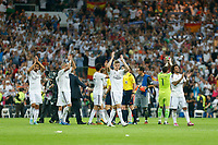 Real Madrid´s players cheer their supporters after La Liga match between Real Madrid and F.C. Barcelona in Santiago Bernabeu stadium in Madrid, Spain. October 25, 2014. (ALTERPHOTOS/Victor Blanco)