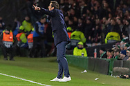 Rennes Manager Julien Stephan giving his side instruction from the touchline during the Europa League match between Celtic and Rennes at Celtic Park, Glasgow, Scotland on 28 November 2019.