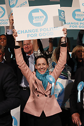 © Licensed to London News Pictures. 21/05/2019. London, UK. Brexit Party candidate Annunziata Rees-Mogg cheers on stage ahead of leader Nigel Farage at a European Election rally at Olympia in London. Voters are due to go to the polls in two days. Photo credit: Peter Macdiarmid/LNP