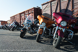 Motorcyclists found good parking at the Galveston Railroad Museum during the Lone Star Rally. Galveston, TX. USA. Saturday November 4, 2017. Photography ©2017 Michael Lichter.