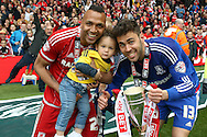 Middlesbrough midfielder Emilio Nsue (24)  and Middlesbrough goalkeeper Tomas Mejias (13)  during the Sky Bet Championship match between Middlesbrough and Brighton and Hove Albion at the Riverside Stadium, Middlesbrough, England on 7 May 2016. Photo by Simon Davies.