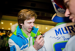 Ziga Jeglic, ice hockey player at reception of Slovenia team arrived from Winter Olympic Games Sochi 2014 on February 19, 2014 at Airport Joze Pucnik, Brnik, Slovenia. Photo by Vid Ponikvar / Sportida
