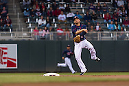 Brian Dozier #2 of the Minnesota Twins makes an errant throw to 1st base against the Boston Red Sox on May 17, 2013 at Target Field in Minneapolis, Minnesota.  The Red Sox defeated the Twins 3 to 2.  Photo: Ben Krause
