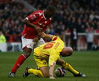 Photo: Steve Bond/Richard Lane Photography. <br />Nottingham Forest v Walsall. Coca Cola League One. 15/03/2008. Wes Morgan (L) puts pressure onTommy Mooney (R)