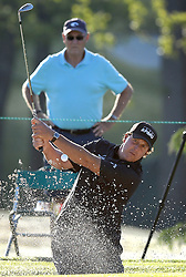 May 3, 2018 - Charlotte, NC, USA - Phil Mickelson hits out of a sand trap along the 10th green during he first round of the Wells Fargo Championship at Quail Hollow Club in Charlotte, N.C., on Thursday, May 3, 2018. (Credit Image: © Jeff Siner/TNS via ZUMA Wire)