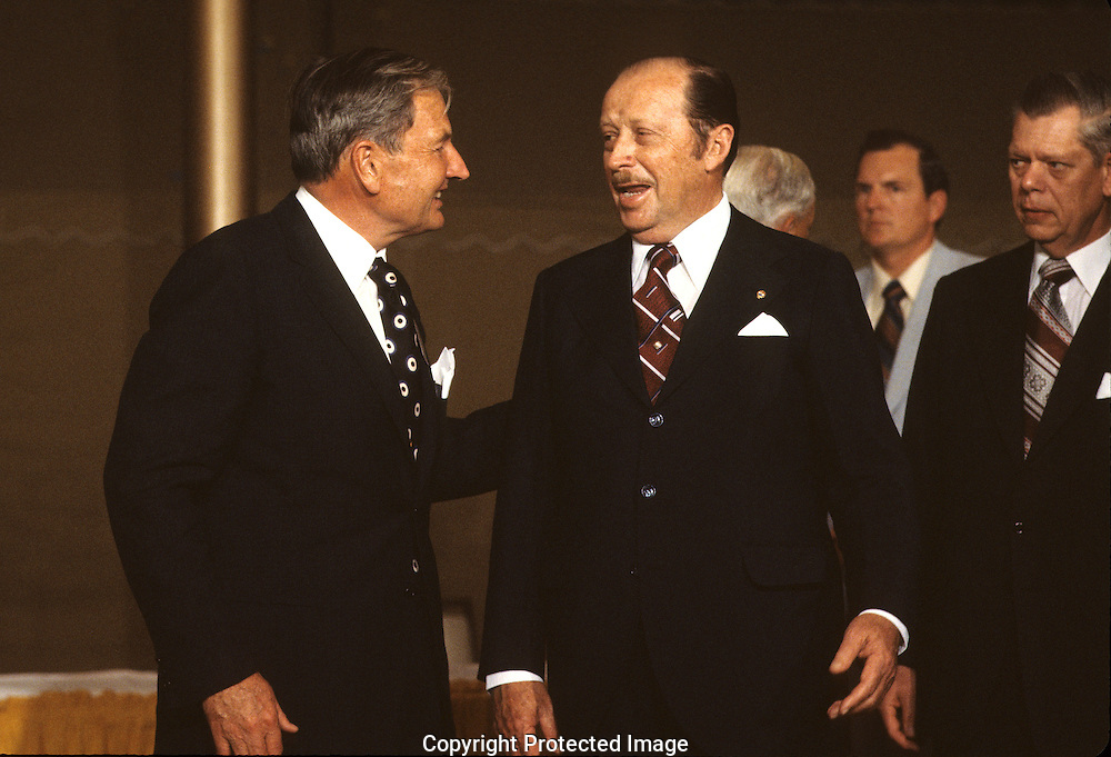 David Rockefeller and General Ejercito Alfredo Stroessner, Paraguay  in 1977..Photograph by Dennis Brack bb 21