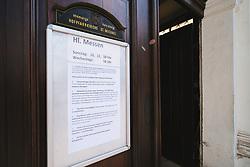 THEMENBILD - Schilder vor einer geschlossenen Kirche in Folge des Coronavirus-Ausbruchs in Oesterreich, aufgenommen am 14.03.2020, Wien, Oesterreich // signs in front of a closed church as a result of the coronavirus outbreak in Austria, Vienna, Austria on 2020/03/14. EXPA Pictures © 2020, PhotoCredit: EXPA/ Florian Schroetter