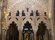 Ornate stonework of archways in the former Great Mosque, Cordoba, Spain