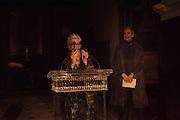 JOAN JONAS, WHITECHAPEL GALLERY ART ICON, Whitechapel Gallery Art Icon Gala, supported by the Swarovski Foundation, Honoring the lifetime achievement of Joan Jonas. Christ Church Spitafields. London.