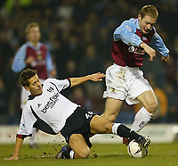 Photo Aidan Ellis.<br />Burnley v Fulham (FA Cup 5th Rd Replay) 26/02/03<br />Fulham's john Harley and Burnley's Ian Moore