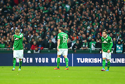 Football: Germany, 1. Bundesliga<br /> Aaron Hunt (SV Werder Bremen), Sebastian Proedl (SV Werder Bremen), Philipp Bargfrede (SV Werder Bremen)