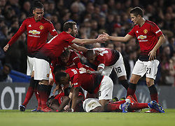 BRITAIN-LONDON-FOOTBALL-FA CUP-CHELSEA VS MAN UNITED.(190218) -- LONDON, Feb. 18, 2019  Manchester United's players celebrate the goal by Paul Pogba during the FA Cup fifth round match between Chelsea and Manchester United in London, Britain on Feb. 18, 2019. Manchester United won 2-0. FOR EDITORIAL USE ONLY. NOT FOR SALE FOR MARKETING OR ADVERTISING CAMPAIGNS. NO USE WITH UNAUTHORIZED AUDIO, VIDEO, DATA, FIXTURE LISTS, CLUB/LEAGUE LOGOS OR ''LIVE'' SERVICES. ONLINE IN-MATCH USE LIMITED TO 45 IMAGES, NO VIDEO EMULATION. NO USE IN BETTING, GAMES OR SINGLE CLUB/LEAGUE/PLAYER PUBLICATIONS. (Credit Image: © Xinhua via ZUMA Wire)