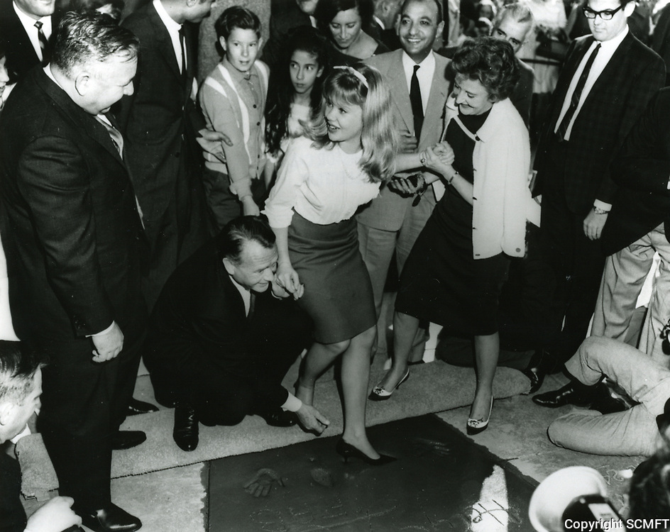 1964 Haley Mills' hand/footprint ceremony at Grauman's Chinese Theater