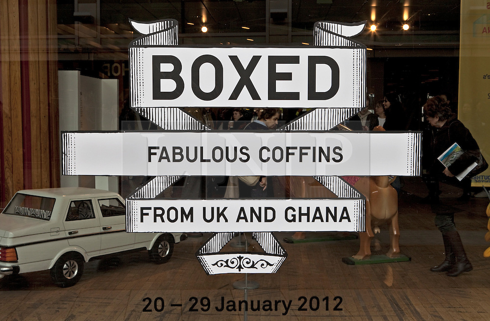 © Licensed to London News Pictures. 22/01/2012. London, U.K..Boxed Exhibition at the Royal Festival Hall on the South Bank, London, showing fabulous weird and whacky coffins from the UK and Ghana..Photo credit : Rich Bowen/LNP