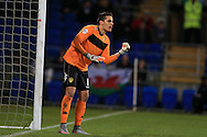 Marco Silvestri , the Leeds Utd goalkeeper looks on, stats show that the keeper made more saves in this match than any other goalkeeper in the Championship this season. Skybet football league championship match, Cardiff city v Leeds Utd at the Cardiff city stadium in Cardiff, South Wales on Tuesday 8th March 2016.<br /> pic by Andrew Orchard, Andrew Orchard sports photography.