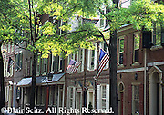 Historic Society Hill, American Flags Displayed, Late 1800s Row Houses,  Philadelphia, PA
