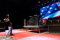 National Anthem before the Jackyl concert at the Full Throttle Saloon during the Sturgis Motorcycle Rally. SD, USA. Thursday, August 12, 2021. Photography ©2021 Michael Lichter.
