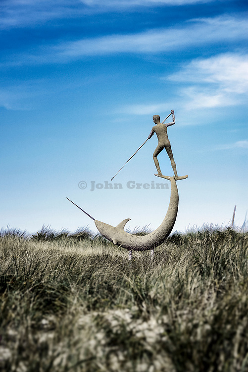Swordfish Harpooner sculpture, Menemsha, Chilmark, Martha's Vineyard, Massachusetts, USA