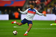 Callum Wilson of England warming up before the UEFA European 2020 Qualifier match between England and Czech Republic at Wembley Stadium, London, England on 22 March 2019.