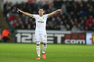 Angel Rangel of Swansea city in action. Barclays Premier league match, Swansea city v West Bromwich Albion at the Liberty Stadium in Swansea, South Wales  on Boxing Day Saturday 26th December 2015.<br /> pic by  Andrew Orchard, Andrew Orchard sports photography.