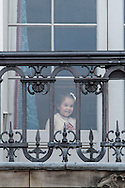 16.04.2016. Copenhagen, Denmark.<br /> Princess Athena looking out the window at the Amalienborg Palace on The 76th Birthday of Queen Margrethe II of Denmark<br /> Photo:© Ricardo Ramirez