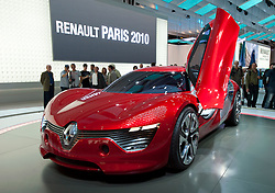 New electric concept Renault Dezir sports car on display at Paris Motor Show 2010