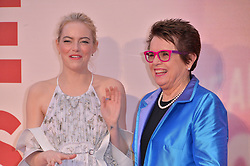© Licensed to London News Pictures. 07/10/2017. London, UK. EMMA STONE and BILLIE JEAN KING attend the European film premiere of Battle Of The Sexes showing as part of the BFI London Film Festival. Photo credit: Ray Tang/LNP