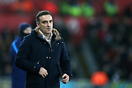 Swansea city manager Carlos Carvalhal reacts on the touchline during the Premier league match, Swansea city v Tottenham Hotspur at the Liberty Stadium in Swansea, South Wales on Tuesday 2nd January 2018. <br /> pic by  Andrew Orchard, Andrew Orchard sports photography.