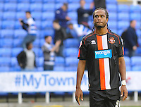 Blackpool's Nathan Delfouneso looks dejected at full time<br /> <br /> Photographer Kevin Barnes/CameraSport<br /> <br /> Football - The Football League Sky Bet Championship - Reading v Blackpool - Saturday 25th October 2014 - Madejski Stadium - Reading <br /> <br /> © CameraSport - 43 Linden Ave. Countesthorpe. Leicester. England. LE8 5PG - Tel: +44 (0) 116 277 4147 - admin@camerasport.com - www.camerasport.com