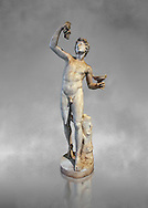 Roman marble sculpture of Faun, a 2nd century AD copy from an original of a late 2nd - 1st century BC late Hellanistic Greek original, inv 6332Farnese Collection, Naples Museum of Archaeology, Italy ..<br /> <br /> If you prefer to buy from our ALAMY STOCK LIBRARY page at https://www.alamy.com/portfolio/paul-williams-funkystock/greco-roman-sculptures.html . Type -    Naples    - into LOWER SEARCH WITHIN GALLERY box - Refine search by adding a subject, place, background colour, etc.<br /> <br /> Visit our ROMAN WORLD PHOTO COLLECTIONS for more photos to download or buy as wall art prints https://funkystock.photoshelter.com/gallery-collection/The-Romans-Art-Artefacts-Antiquities-Historic-Sites-Pictures-Images/C0000r2uLJJo9_s0