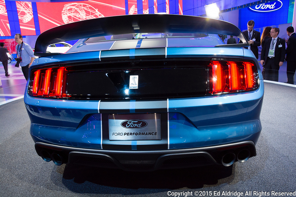 DETROIT, MI, USA - JANUARY 12, 2015: Ford Shelby GT 350 R on display during the 2015 Detroit International Auto Show at the COBO Center in downtown Detroit.