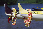 Leis, Outrigger canoe, Hawaii, USA<br />